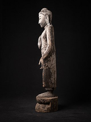 Antique wooden Burmese Buddha statue
