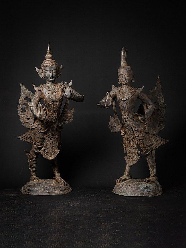 Special large bronze pair of Kinnari statues