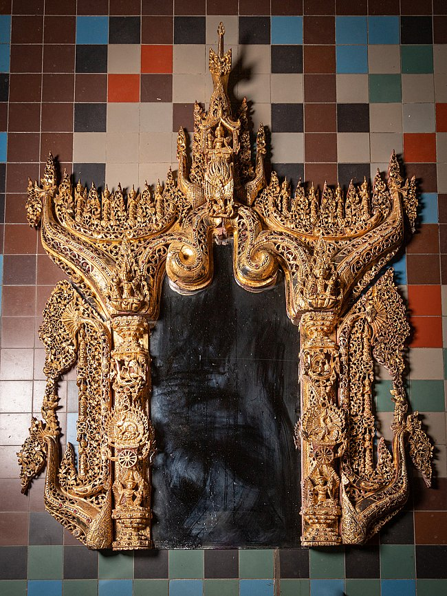 Very large Burmese wooden Temple panel
