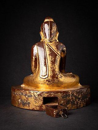 Antique wooden Burmese Lotus Buddha statue