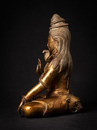 Old bronze gilded Nepali Shiva statue