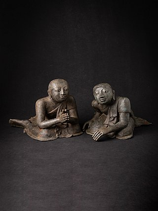 Pair of antique bronze Burmese monk statues