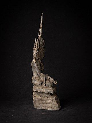 Alte bronze Birmanische gekrönte Buddhafigur