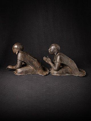 Pair of antique bronze Monk statues