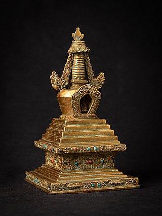Oude bronzen Nepalese Stupa