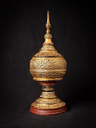 Antique wooden Burmese offering vessel