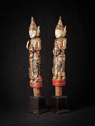 Antique pair wooden Burmese Nat statues