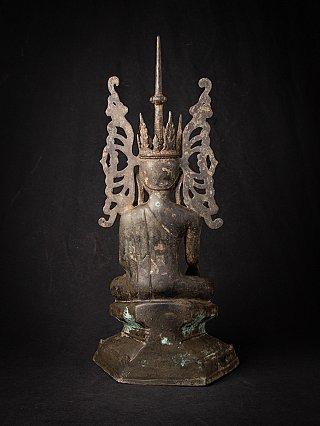 Alte Bronze gekrönte birmanische Buddhafigur