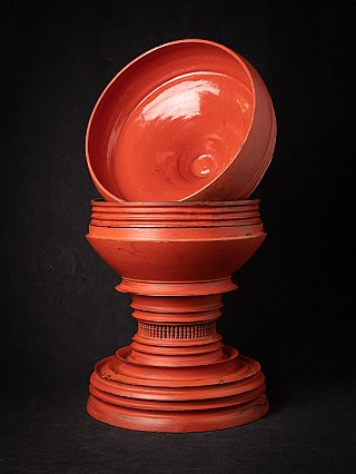 Antique red-lacquered Burmese offering vessel