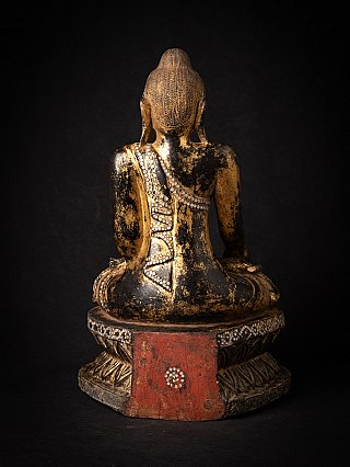 Antieke houten Birmese Mandalay Boeddha