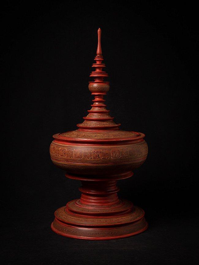 Old red Burmese offering vessel