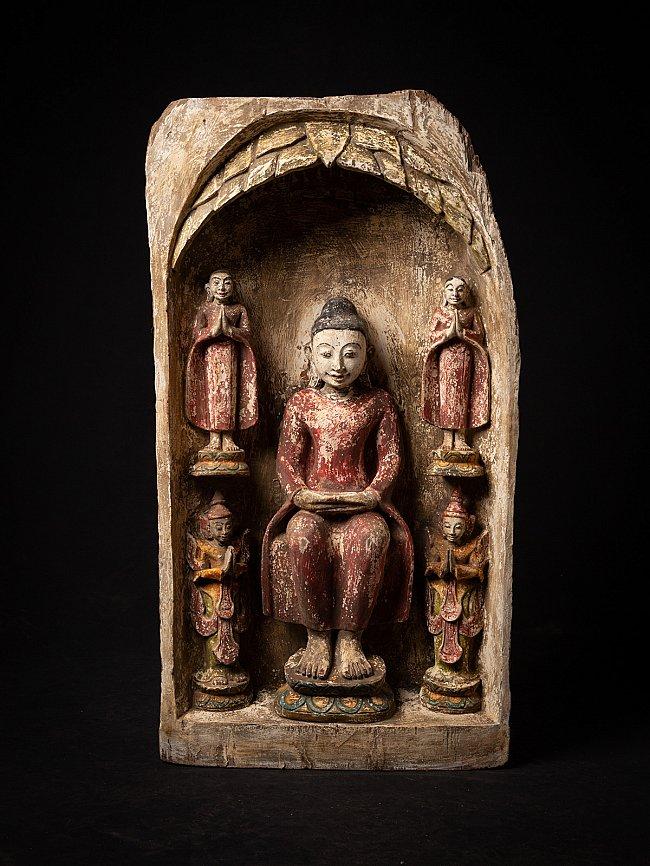 Oud houten Boeddha houtsnijwerk met monniken