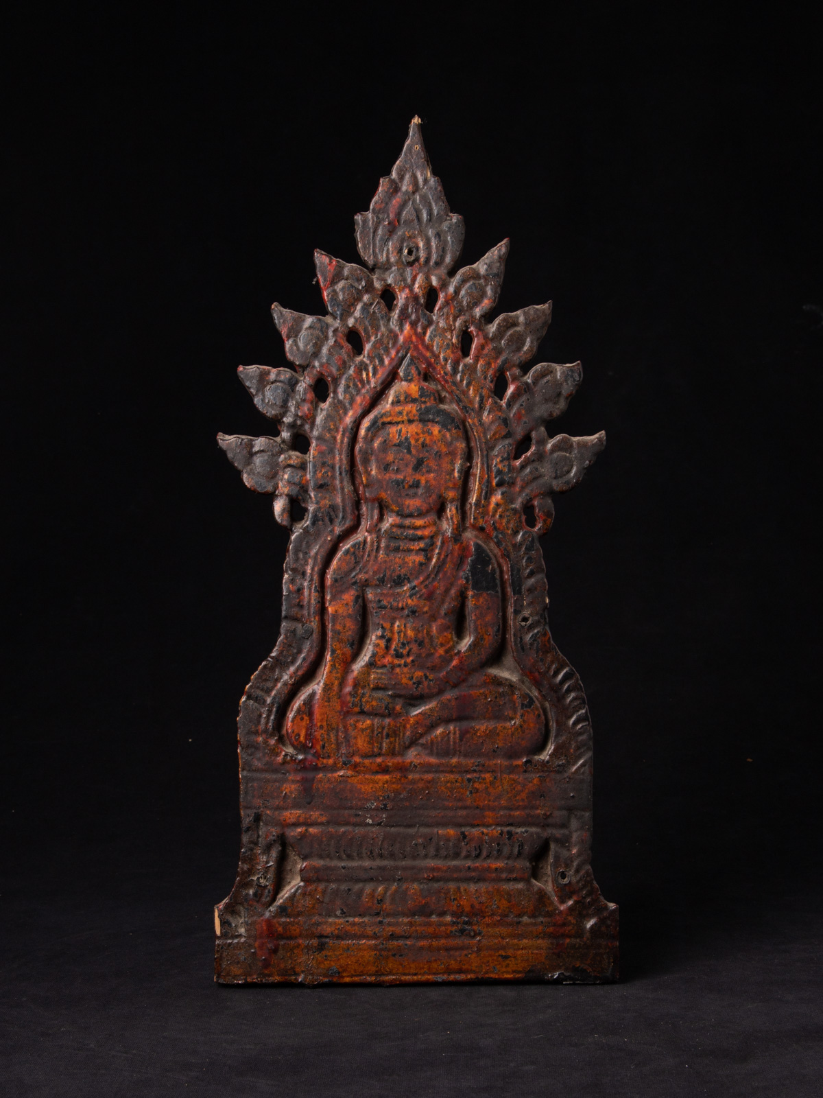 Old wooden Buddha panel from Burma