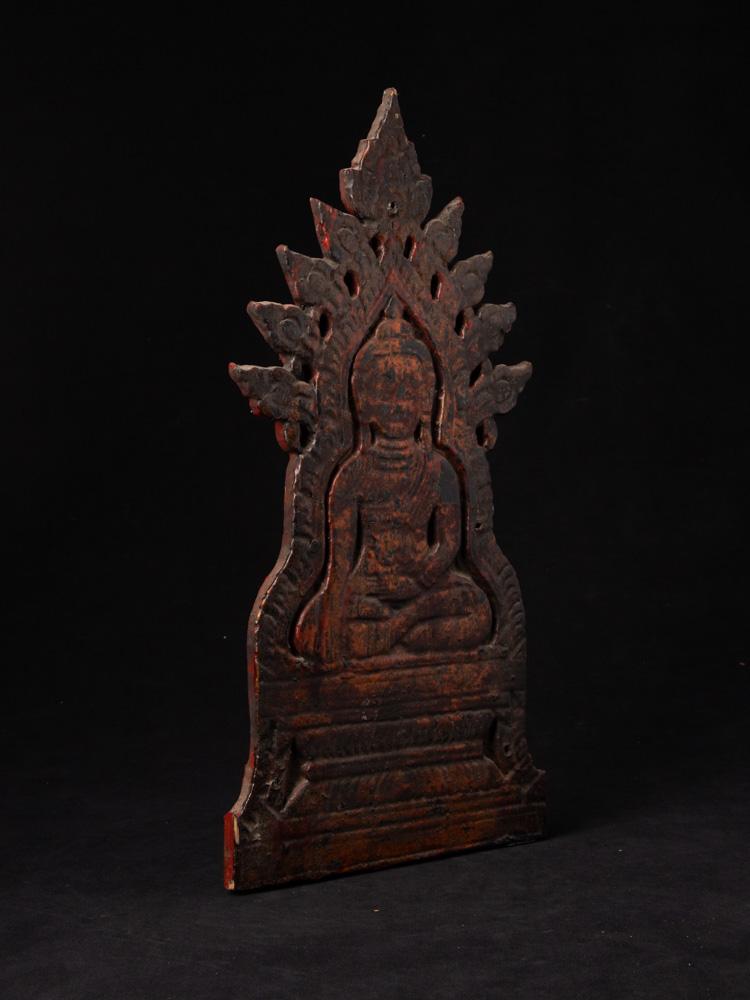 Oud houten Boeddhapaneel
