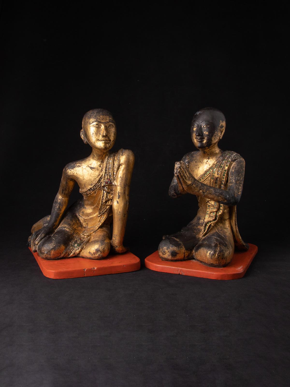 Antikes paar Monch Figuren