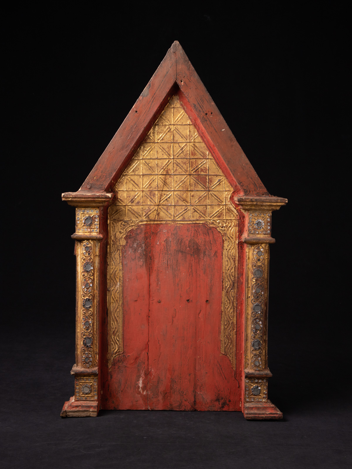 Antique wooden temple panel from Burma made from Wood