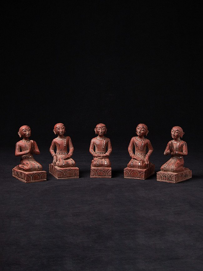 Set of wooden monk statues