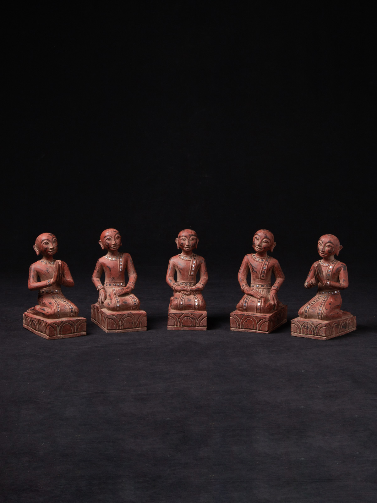 Set of wooden monk statues from Burma made from Wood