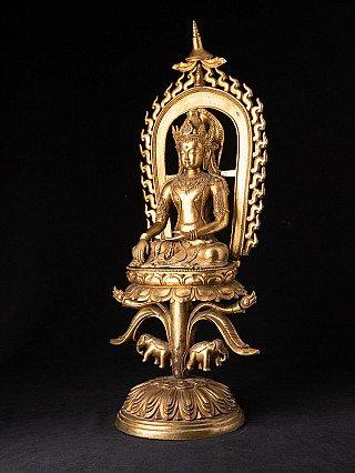 Old bronze Nepali Shakyamuni Buddha statue