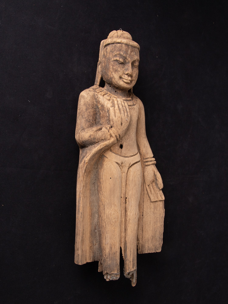 Old wooden Burmese Buddha statue from Burma made from Wood