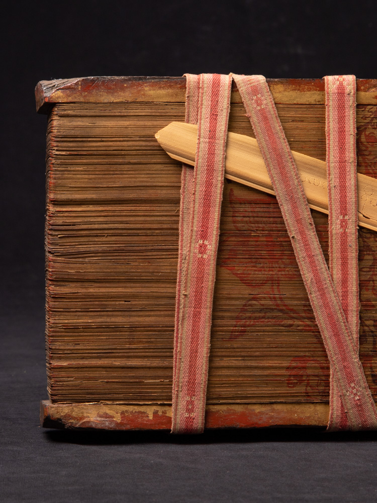 Antique Palm Leave Manuscript book from Burma made from Palm leaves & wood