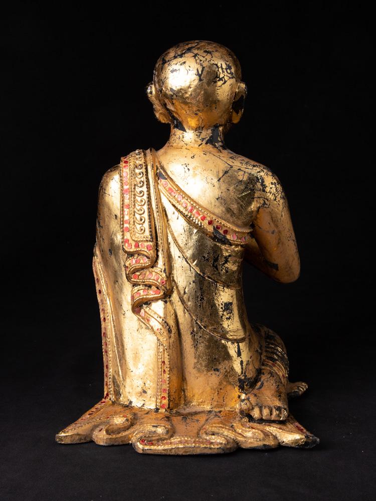 Alte holzerne Monch Figur
