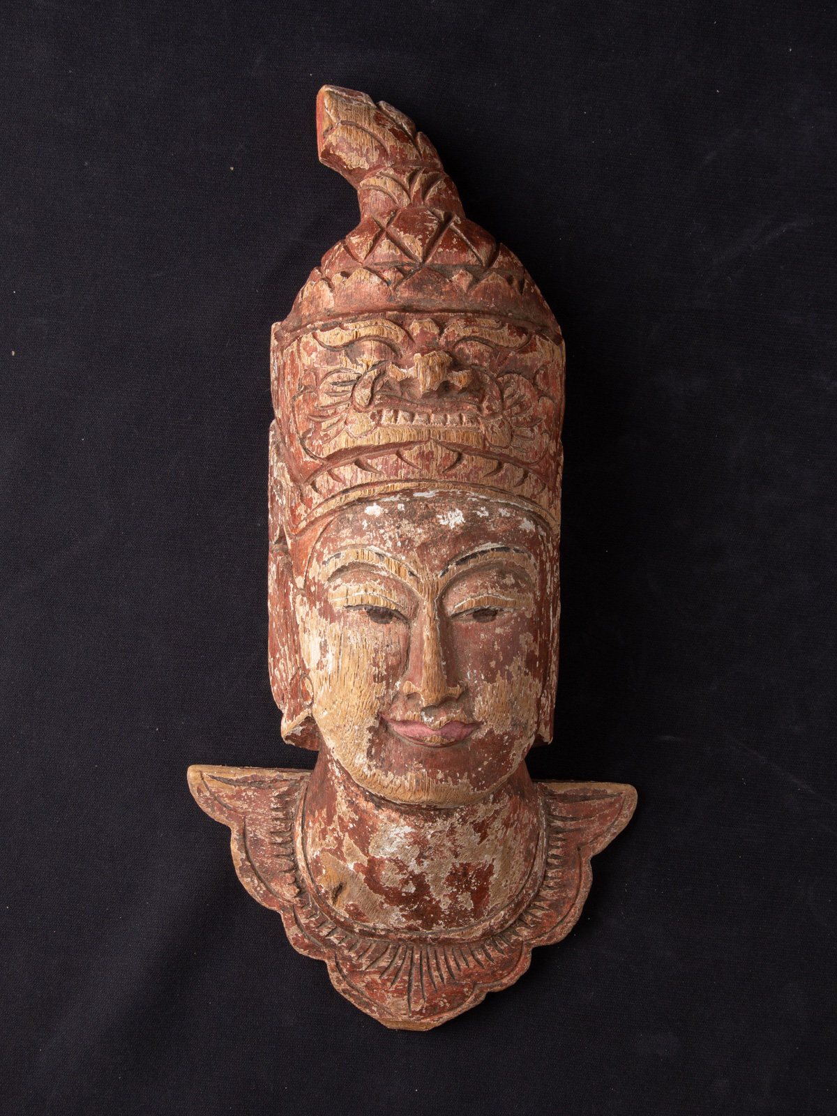 Old Burmese wooden head from Burma made from Wood