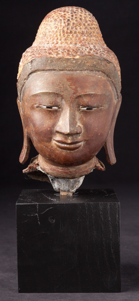 Antique bronze Buddha head from Burma