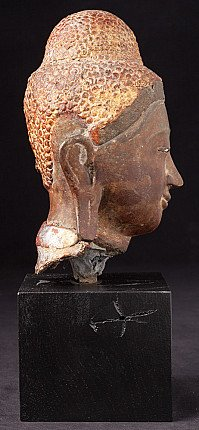 Antique bronze Buddha head