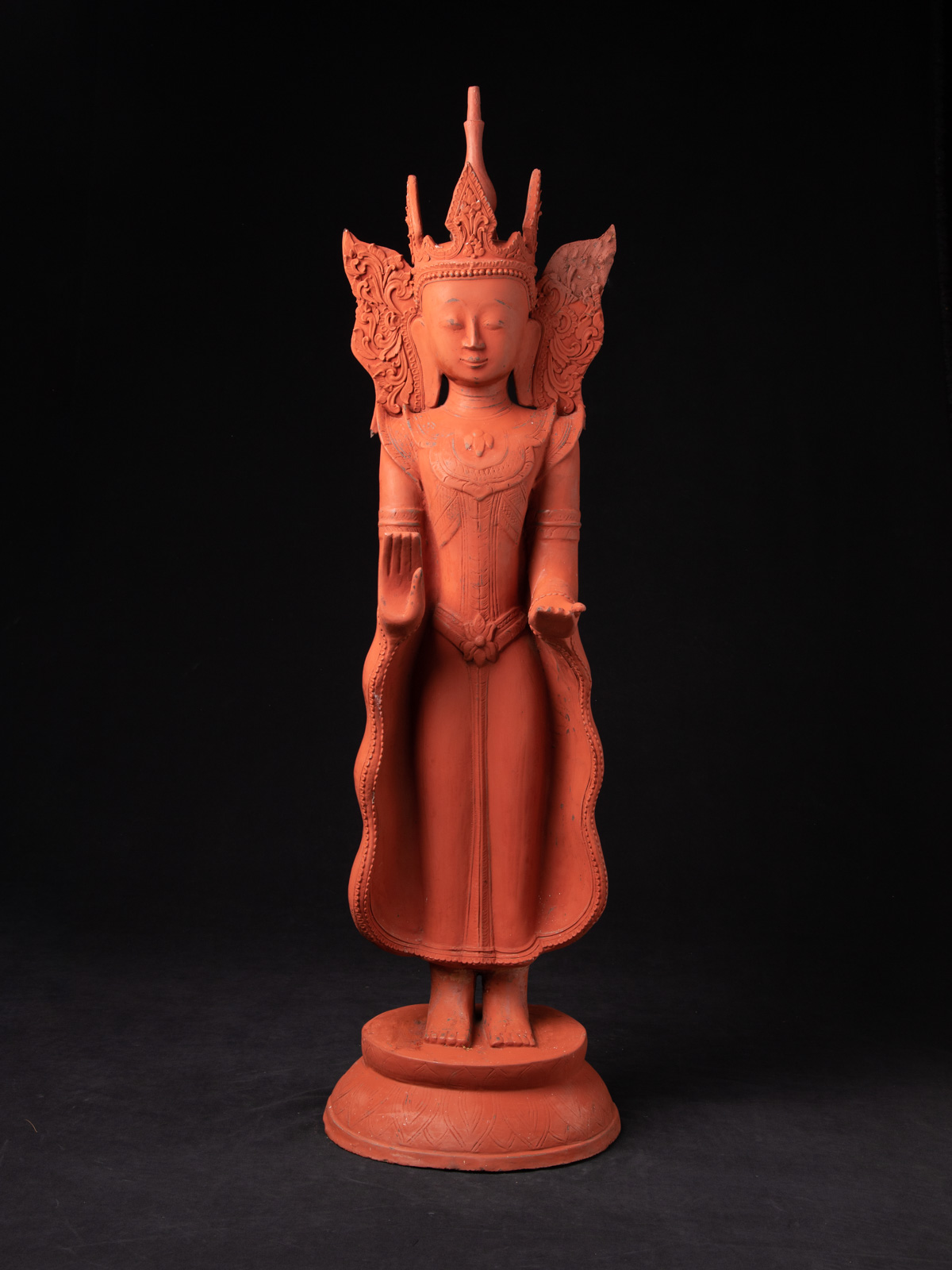 Old standing Buddha from Burma made from lacquer