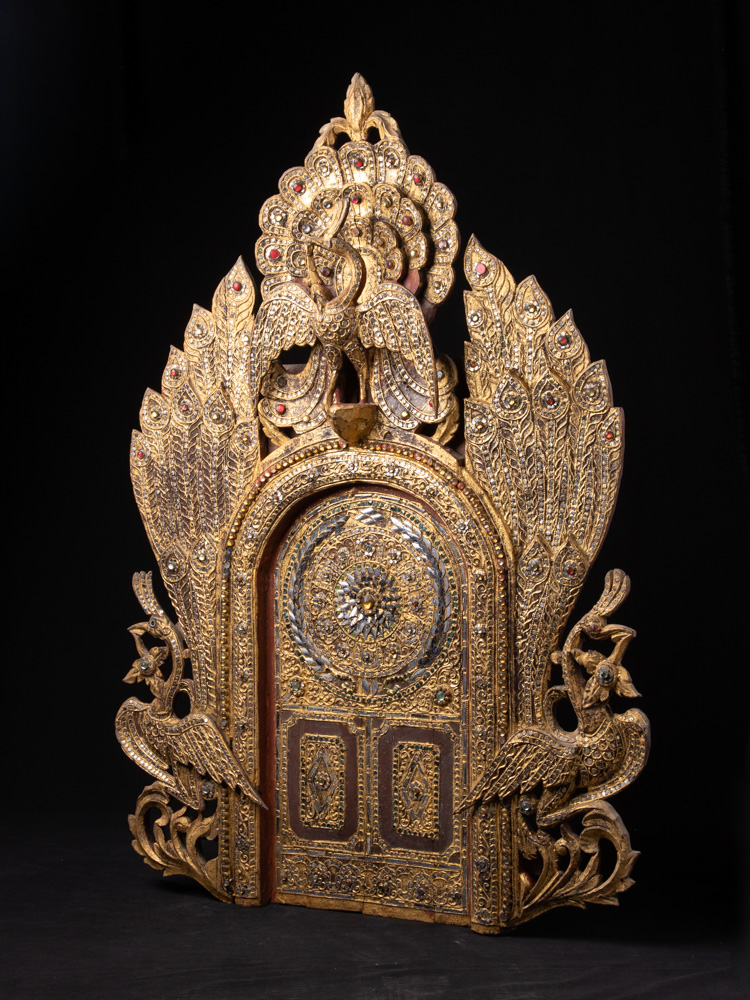 Antique Temple Panel from Burma made from Wood