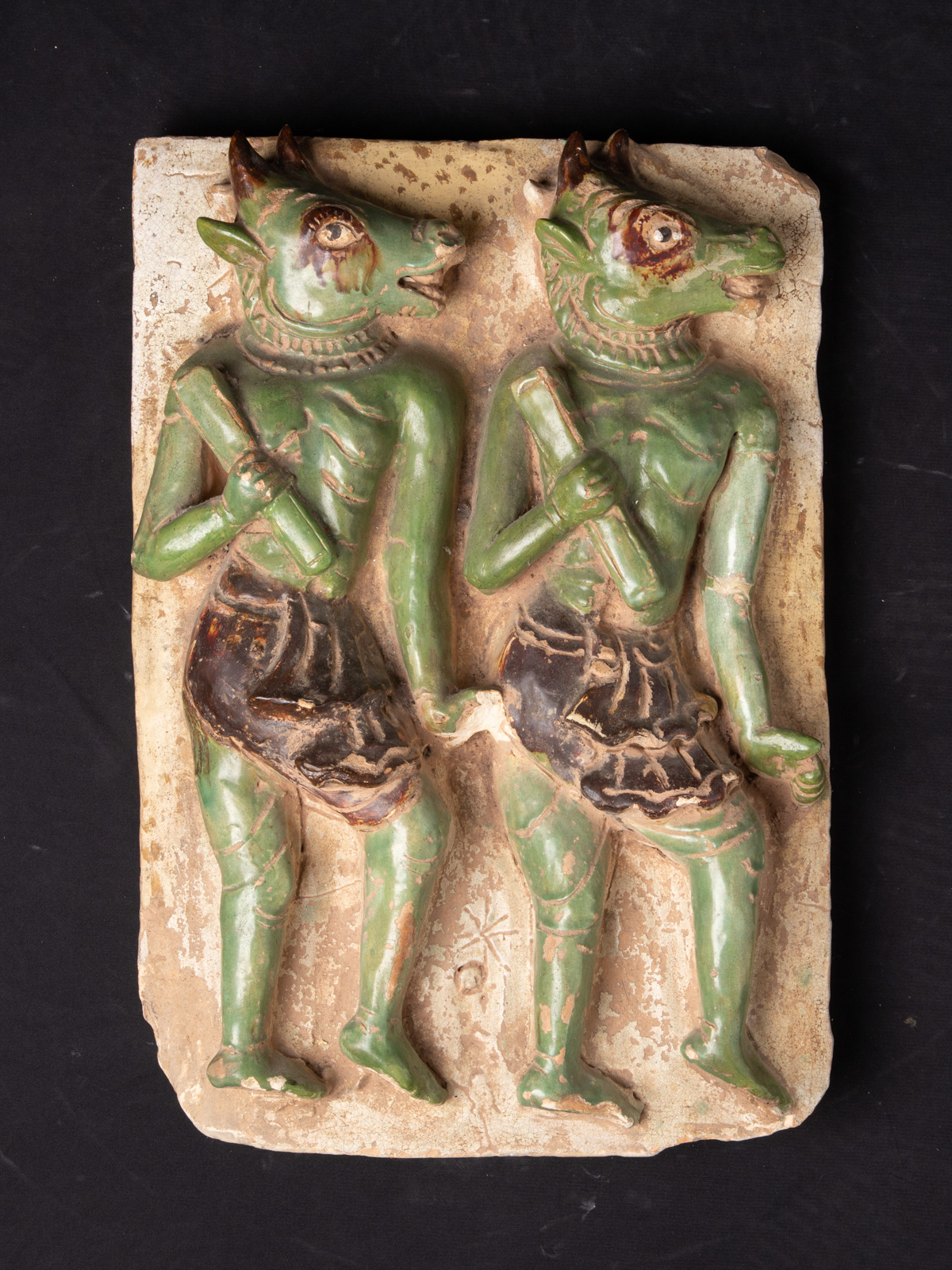 Antique Tile with Maras soldiers from Burma made from Glazed pottery