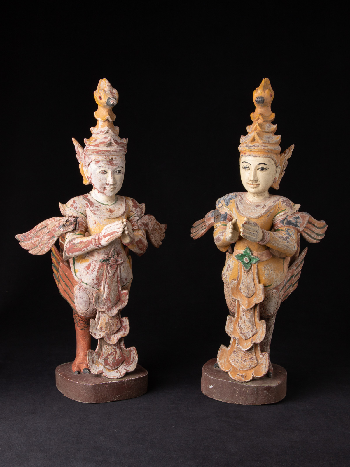 Old set of Kinnari statues from Burma made from Wood