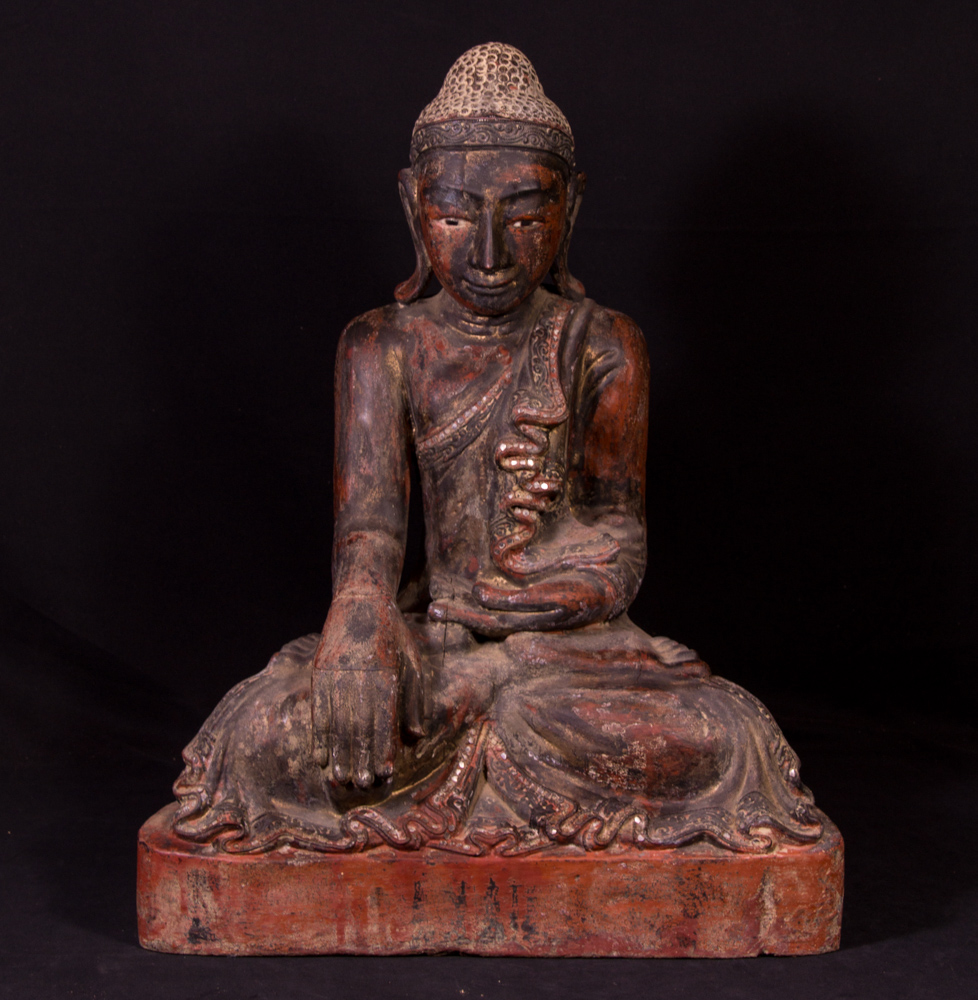 Antique wooden Mandalay Buddha statue from Burma