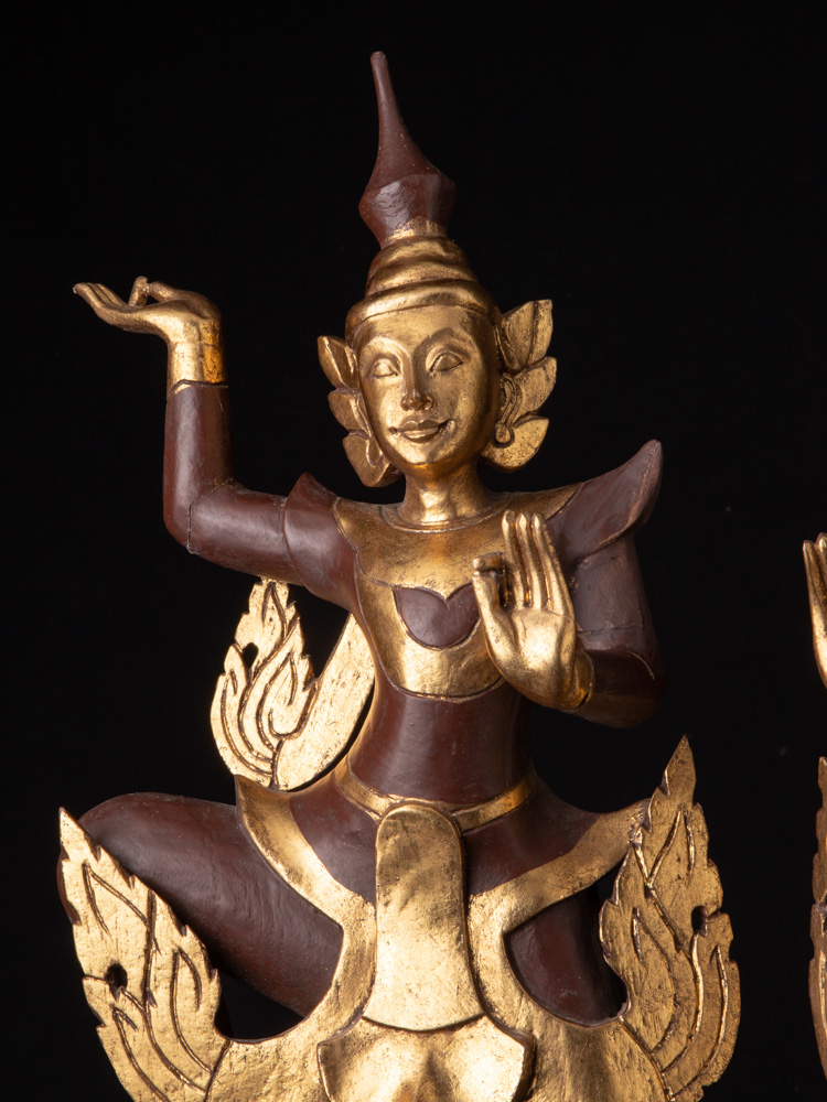 Pair of Burmese dancing figures