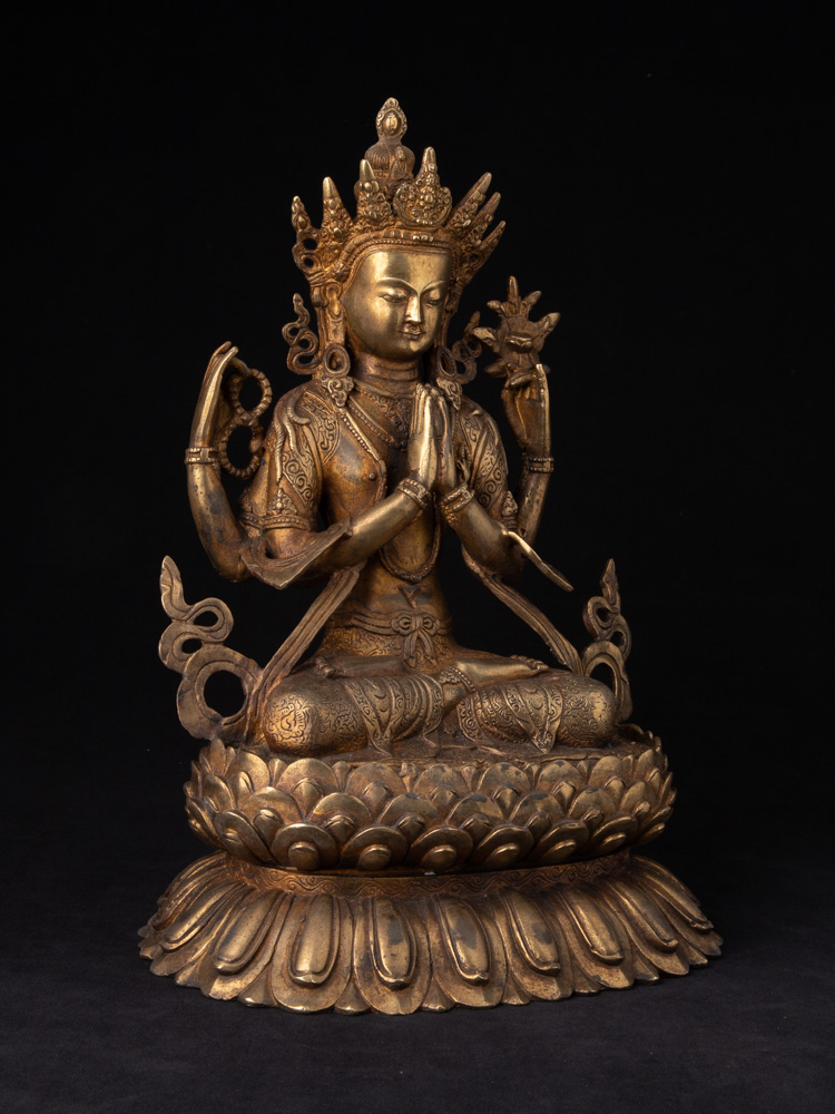 Old bronze Chenrezig statue from Nepal made from Bronze