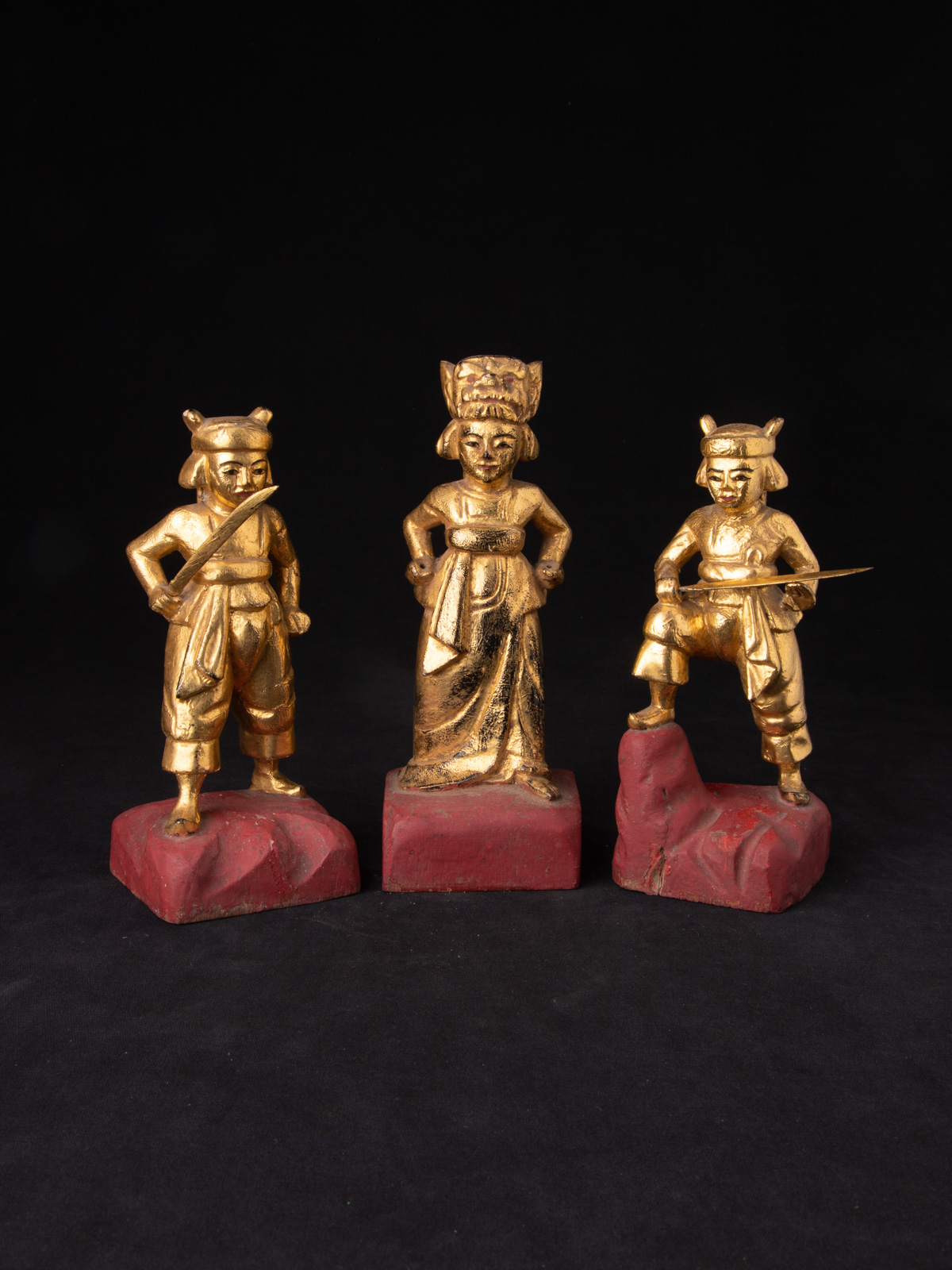 Antique pair of Burmese Nat statues from Burma