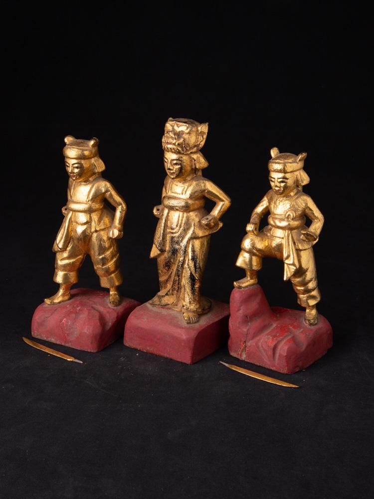 Antique pair of Burmese Nat statues