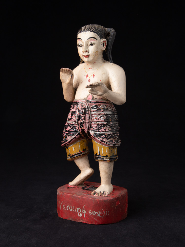 Antique wooden Burmese Nat statue from Burma made from Wood