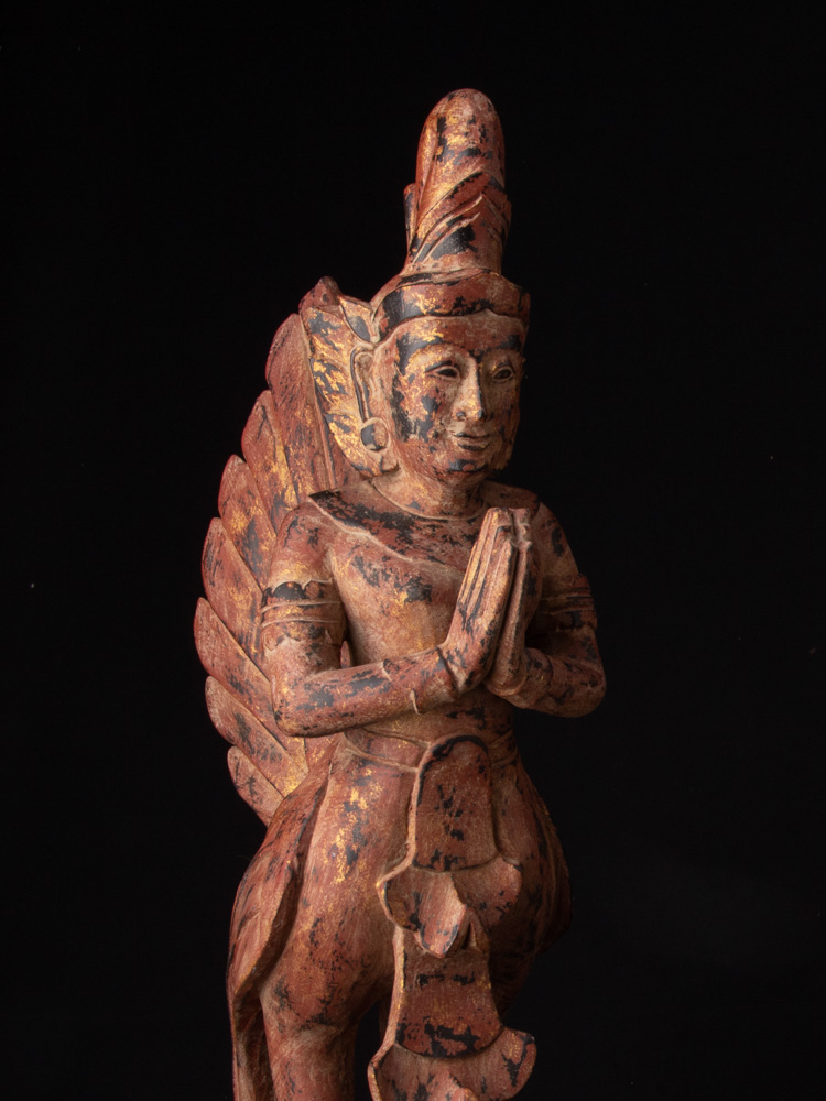 Pair of wooden Kinnari statues