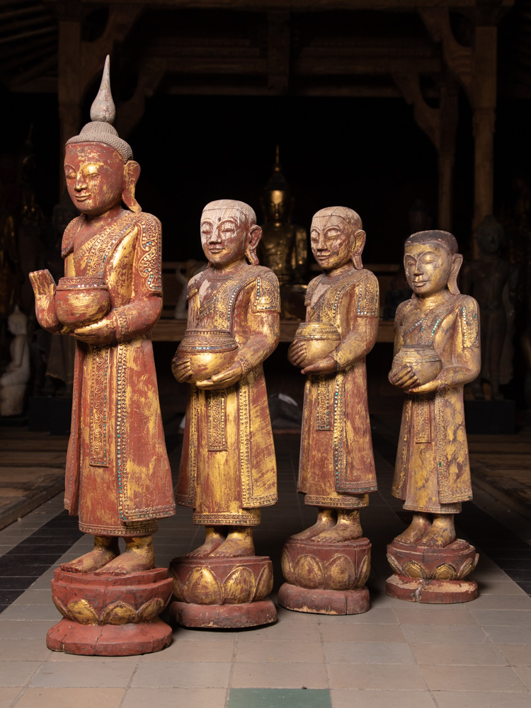 Old pair Buddha with monk statues from Burma made from Wood