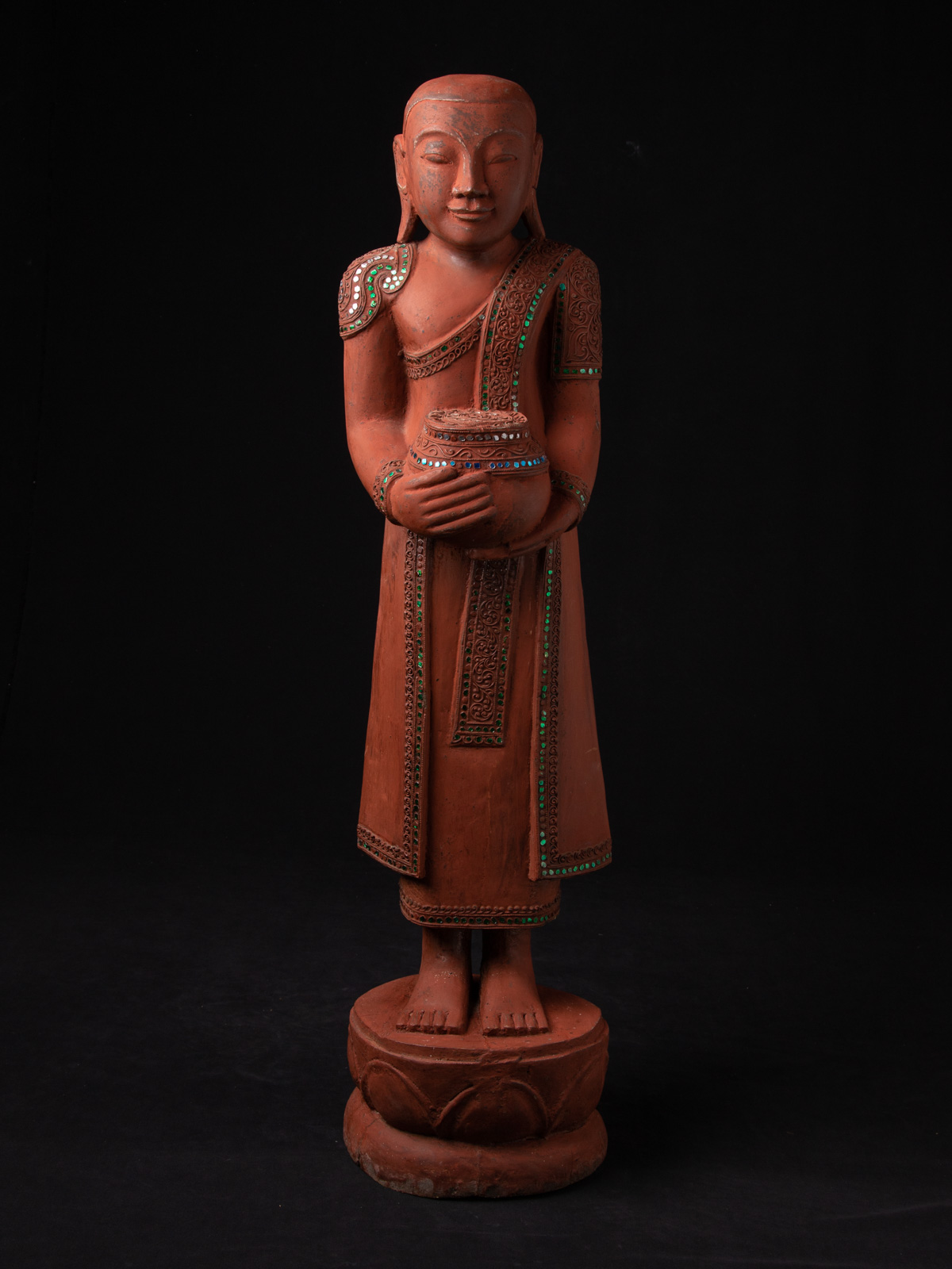 Old wooden monk statue from Burma made from Wood