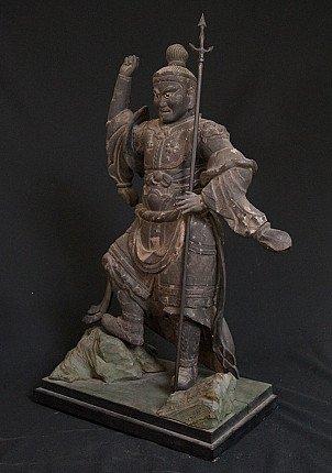 Antique Japanese Bishamon statue