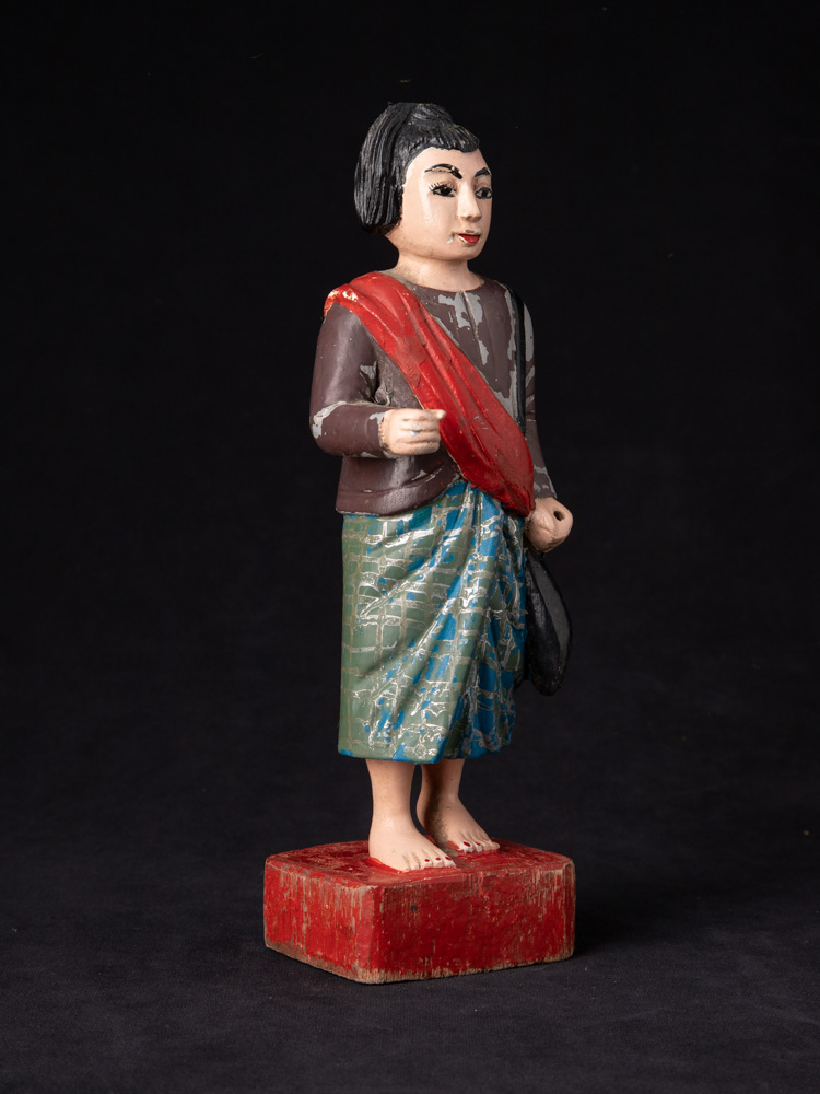 Old wooden Burmese Nat statue from Burma made from Wood