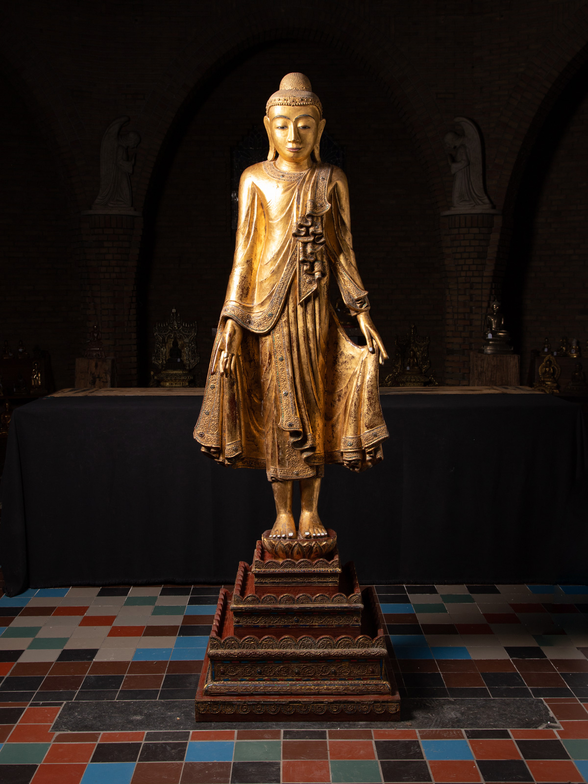 Large old wooden Mandalay Buddha statue from Burma