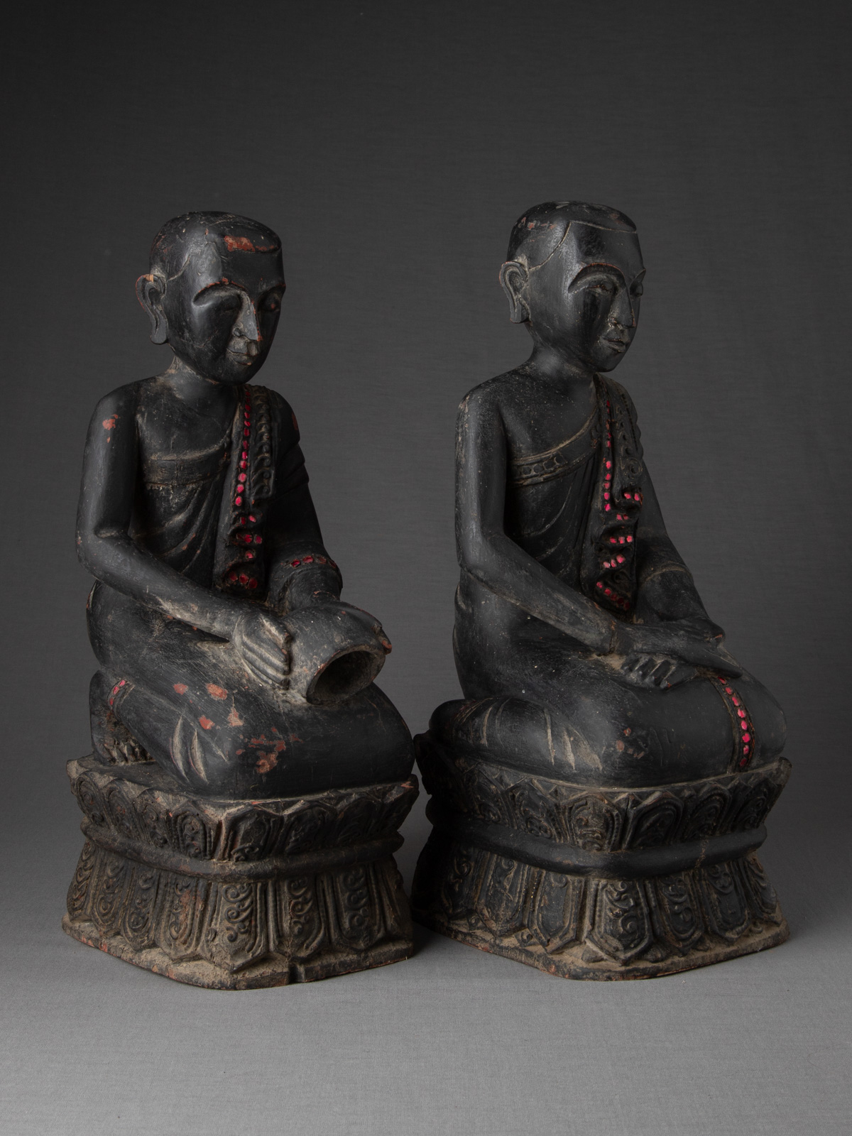 Pair of old Burmese monk statues from Burma made from Wood