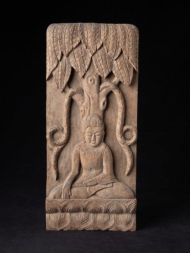 Oude houten Boeddha plaat