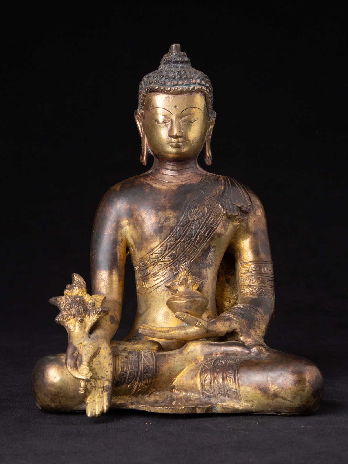 Bronze Medicine Buddha statue from Nepal made from Bronze