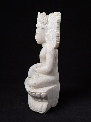 Crowned marble Buddha statue