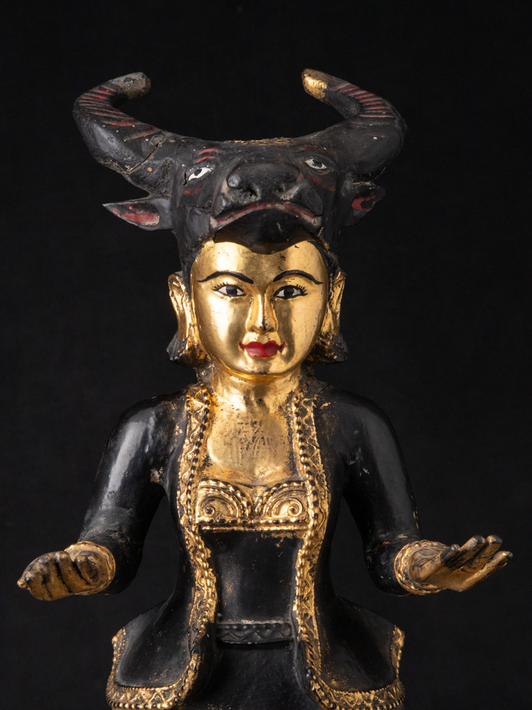 Antique Burmese Nat statue from Burma made from Wood